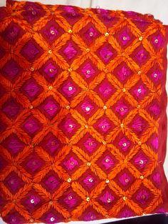 Resham hand embroidered phulkari bagh scarf!  Www.facebook.com/palakscreations