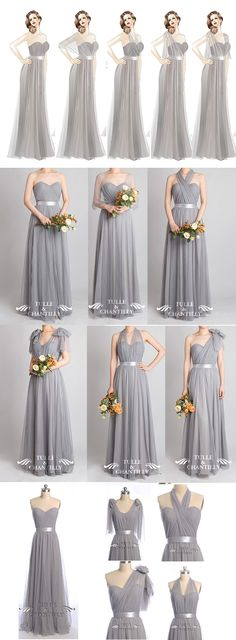 Bridesmaid Gowns Grey wedding color ideas - Tulle Convertible Medium Grey Multi-wear Convertible Bridesmaid Dresses - Photographed In: Platinum Grey Bridesmaid Dresses, Bridesmaids And Groomsmen, Wedding Bridesmaids, Wedding Attire, Wedding Gowns, Prom Dresses, Tulle Wedding, Bridesmaid Color, Wedding Skirt