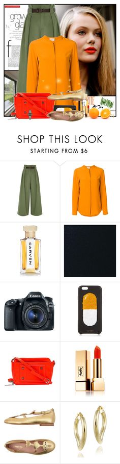 """""""Bright Citrus 🍊"""" by pusja76 ❤ liked on Polyvore featuring River Island, Erika Cavallini Semi-Couture, Carven, Chaos, Versace, Yves Saint Laurent, VIVETTA, Mondevio, Rado and orangeoutfit"""