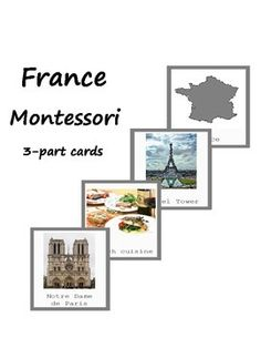 Montessori Printables. These cards will help your child to explore and know more about France! They can be used during Europe study. This is 3-part cards that include France map, capital, landmarks and other! The color coding corresponds to Montessori Europe map. Material consists of:  -10 name and picture cards -10 picture cards -10 name cards