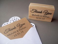 Custom Thank You Stamp with Names and Date Any by stampcouture, $14.95
