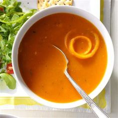 Tomato-Orange Soup Recipe- Recipes Who knew orange and tomato were such a good pair? Whenever I serve this, I keep the recipe handy for requests. —Barbara Wood, St. John's, Newfoundland