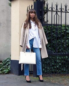 Anne-Miel Kessels carries The Strathberry Tote in Vanilla