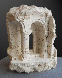 Arven - Coralline limestone Sculpture by British artist Matthew Simmonds
