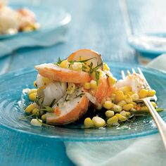 Lobster and Corn Salad With Tarragon Vinaigrette, a luscious main-dish salad perfect for brunch | health.com