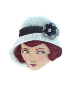 Jazz Age Girl Felt Brooch Fabric Brooch Art Brooch by yalipaz, $12.00