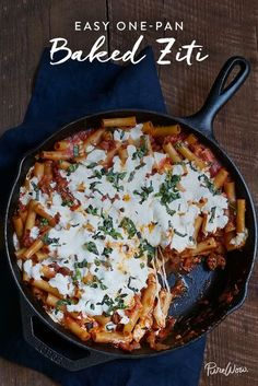 Easy One-Pan Baked Ziti via @PureWow. Everyone needs a handful of easy, go-to recipes that never disappoint. Let us introduce you to our new favorite. This simple, comforting one-pan baked ziti comes together in an hour. So get your skillet ready—and get this recipe into your dinner rotation, stat.