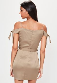 Missguided - Brown Satin Strappy Tie Shoulder Wrap Shift Dress