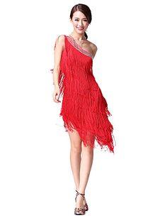 f18f3eb2b00c Latin Dance Dresses Women's Performance Cotton / Polyester Tassel /  Crystals / Rhinestones Sleeveless Natural Dress
