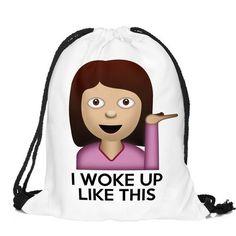 Back to School Girl Pattern Funny Design Drawstring Bag Woman Teen Backpack…