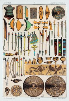 Ancient Babylonians and Assyrians weapons. Mesopotamia Art, Ancient Mesopotamia, Ancient Civilizations, Cradle Of Civilization, Ancient Near East, Religion, Minoan, Elements Of Style, Orient