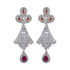 Dilan Jewels HAPPINESS Collection Ruby Pink Silver Alloy Long Earrings For Women. Chosen from our 'HAPPINESS' collection,feel unique with these one-of-a-kind sparkling danglers. Made with silver alloy, these 18K gold plated earrings are studded with all american diamonds and ruby pink coloured stones. Being light weight is an add-on feature for the comfort of your ears. Order now to look your best as these are suitable for the classiest of affairs.