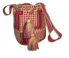 Grande Figuras 1 hebra : Mochila Figura una Hebra Grande Beige, Rojo, Rosado Mochilas Wayuu