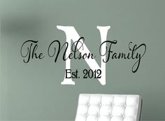 Personalized Family Name Signs - Monogram Wall Decal - Last Name Decal-  Family Name Decal on Etsy, $18.00