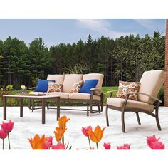 The Belle Isle Sofa Glider from Telescope Casual (pictured in the set) is new for the 2015 patio season and features combination of aluminum frame and eco-friendly MGP arm rests. Casual and comfortable with a hint of subtle luxury.