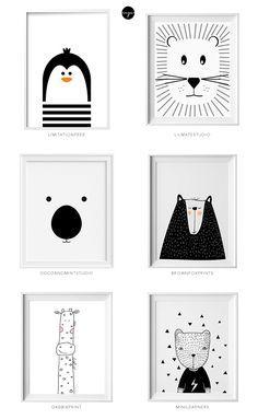 Tierbilder schwarz-weiß als Karte, Bild für einen Bilderrahmen oder einfach zum Zeichnen