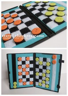 travel checkers {buttons, velcro, DVD case} I need to figure out some little kid friendly games do make like this.