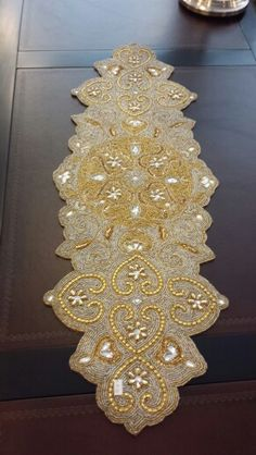 Captivating Beautiful Hand Beaded Table Runner Just Arrived!