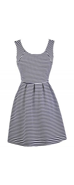 Lily Boutique Pierside Pretty Nautical Stripe A-Line Dress in Navy/Ivory, $34…