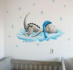 Dirk Draak babykamer wanddecoratie,  leuk draakje van Prenatal Er was eens serie. Gemaakt door BIM Muurschildering.    Cute dragon mural painting.