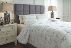 Adrianna King Comforter Set by Ashley HomeStore, White & Gray Grey Comforter Sets, Grey Bedding, Bedding Sets, Luxury Duvet Covers, Luxury Bedding, Cabana, Family Room Design, My New Room, Decoration
