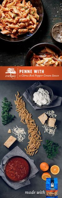 A pasta recipe ready in 30 minutes! Pair truRoots®️️️️️️️️️️️️️ Ancient Grain Organic Penne with a Citrus Red Pepper Cream Sauce made with rich Greek yogurt, orange juice, and parmesan cheese. That's amore! #Penne #Pasta #RedPepper #Easy #GlutenFree