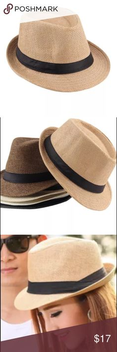 Fedora Straw Hat Khaki straw Panama fedora hat. Lightweight and easily packs flat to travel in beach bag or luggage. NWOT. Accessories Hats