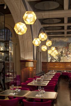 Royal Academy Restaurant by Design Research Studio | with Scoop low chairs and Etch Shade lights from #TomDixon