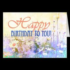 Happy birthday card with beautiful grunge daisies