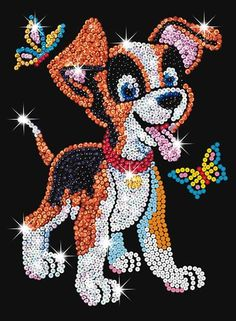 Junior sequin art Puppy 0907 from KSG is just one of many craft kits we stock, both exciting and educational. Button Art, Button Crafts, Kit Creation, Puppy Crafts, Sequin Crafts, Art Du Fil, Bible School Crafts, Rhinestone Art, Cork Art