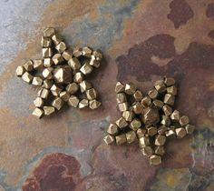 Brass Hand Sewn Beaded Stars Charms Findings Tribal Brass & Czech Glass