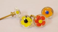 Poppy Flower Glass Cabinet Pulls&Knobs