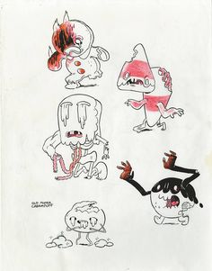 """Zombie Candy People character design concepts by Adam Muto for """"Slumber Party Panic."""""""