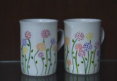 Flower patterned milk mugs #HandPainted #ceramic