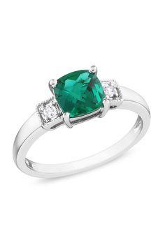 Emerald & Diamond Ring In Silver.