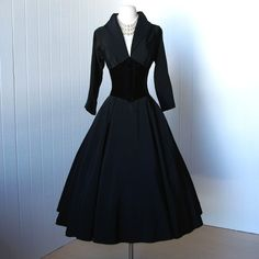 vintage 1950's dress  ...dior inspired new look designer SUZY PERETTE black full skirt portrait collar corset waist cocktail dress l xl. $240.00, via Etsy.
