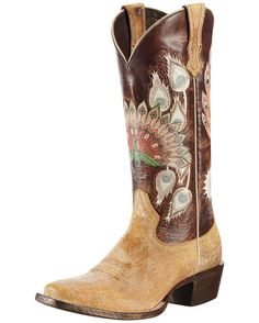 A SW nod to Krishna.  Ariat Women's Mystic Feathers Boot in Shattered Tan/Woodsy Brown.