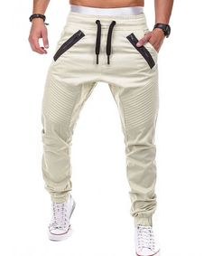 Buy Stitch Zipper Embellished Casual Jogger Pants - Light Khaki - 3N82389338 and discover more Men's Trousers & Pants sale up to 50% off, free shipping now. Jogger Pants Style, Mens Jogger Pants, Men Trousers, Cargo Pants Men, Mens Sweatpants, Women Pants, Sport Pants, Short Boxe, Casual Pants
