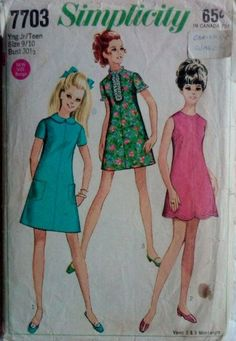 Simplicity 7703 Vintage Sewing Pattern 1960s by Sutlerssundries, $6.50