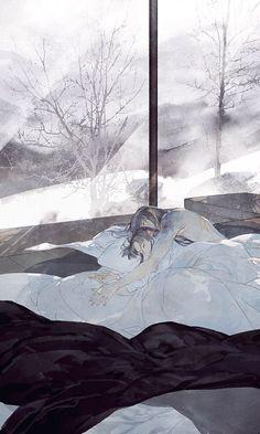 by Chinese illustrator Ibuki Satsuki 伊吹五月. L Dk Manga, Art Manga, Manga Love, Anime Love, Fantasy Kunst, Fantasy Art, Maiden Rose, Fantasy Couples, Art Asiatique