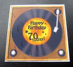 Card Gallery - 70th Birthday Record Wavy Corner side stacker Topper