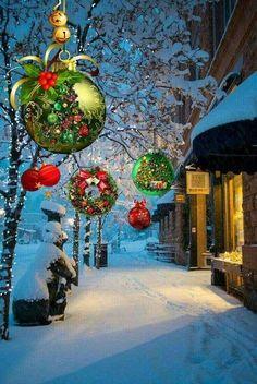 Christmas scene - X mas Christmas Scenery, Noel Christmas, Vintage Christmas Cards, Christmas Pictures, Christmas Greetings, Winter Christmas, Christmas Lights, Christmas Decorations, White Christmas Snow