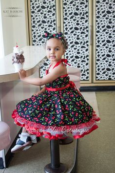 1950s Rockabilly Pin up Style Cherry Print Swing Tutu Dress. Flower Girl. Wedding. Pageant. Costume. Tea Party. Birthday