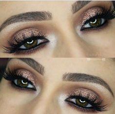 Image via We Heart It #cosmetics #falselashes #makeup #shimmershadowbrows