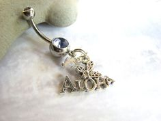 Hawaii Belly Ring / Aloha Bellybutton Ring Belly Button Jewelry Hawaiian Jewelry Navel Rings Beach Charm