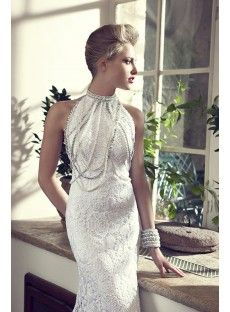Sleeveless Jewel Court Train Lace Sheath Column Wedding Dress With Beading
