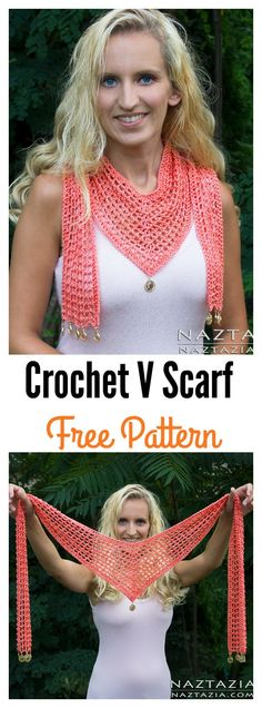 Crochet Clothes Crochet V Scarf Free Pattern and Video Tutorial - Pretty V Scarf FREE Crochet Patterns for warmer months. These patterns can be used to add color to a basic ensemble or in place of a necklace to add layers. Crochet Simple, Knit Or Crochet, Crochet Scarves, Crochet Clothes, Crochet Crafts, Crochet Stitches, Crochet Projects, Crochet Patterns, Knitting Scarves