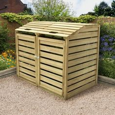 Our Bi Fold Double Bin Store is the perfect way to disguise your unsightly wheelie bins. With its attractive contemporary design it provides practical and discreet storage. Trash Can Storage Outdoor, Garbage Can Storage, Garbage Shed, Outside Storage, Shed Storage, Storage Bins, Bin Storage Ideas Wheelie, Porch Storage, Recycling Storage