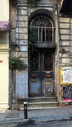 Beyoglu, Istanbul, door, entrence, portal, curved, ornaments, details, steps, beauty, architechture, photograph, photo