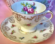 Pretty in Pink EB Foley Teacup and Saucer V1226